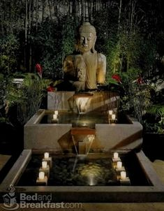 Buddha statue and fountain. Get the look at MIX! Buddha statue and fountain. Take a look at MIX! Meditation Garden, Meditation Space, Jardin Zen Interior, Buddha Home Decor, Balinese Garden, Zen Garden Design, Zen Design, Modern Design, Statue