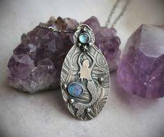 RESERVED  Siren of the Sea  Blue Topaz & Opal by LaFreeBoheme