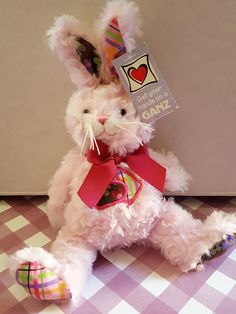 """A Must See!!!  Vintage Ganz Easter Bunny! Patwork! Mini Stuffed! So Soft and Cuddly!! New """"Vintage"""" with Tag!! by OneVintageJunky on Etsy"""