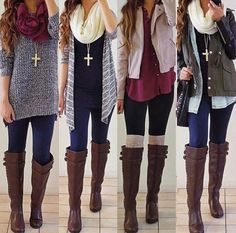 Cute winter outfits. Brown boots. Knee high. Layers. Jewelry. Scarf.