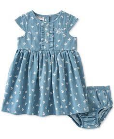 Calvin Klein Baby Girls' 2-Piece Butterfly-Print Dress & Diaper Cover Set