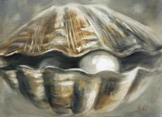 All information about Pearl Oyster Drawing. Pictures of Pearl Oyster Drawing and many more. Watercolor Projects, Watercolor Paintings, Oil Paintings, Louisiana Art, Pearl Paint, Seashell Painting, Painted Shells, Step By Step Painting, Coastal Art