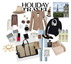 """""""Holiday Travel Style"""" by jamie-980 ❤ liked on Polyvore featuring Gucci, Balmain, Frame Denim, J.Crew, Valentino, Illesteva, rag & bone, Isabel Marant, Rolex and Burberry"""