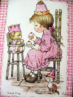 Vintage 70s Sarah Kay Girl Eating Cake Postcard by Sillyshopping