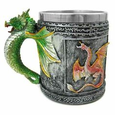 This cool drinking tankard has an armor texture with a relief image of a. This tankard makes a great gift for family and friends who love. gothic dragon on the front and back, Celtic knotwork encircling the bottom. Dragon Glass, Red Dragon, Disney Coffee Mugs, Cool Dragons, Stainless Steel Cups, Dragon Design, Mug Cup, Creative Gifts, Gifts For Family