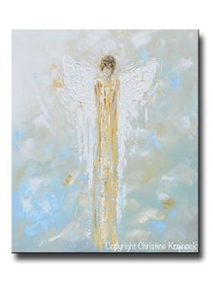 GICLEE PRINT Abstract Angel Painting Gold White Guardian Angel Canvas Blue Green Modern Home Wall Art - Christine Krainock Art - Contemporary Art by Christine - 1