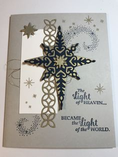 Inspired by Nance Leedy. Sahara Sand and Night of Navy Star of Light ** photo only Merry Christmas Card, Christmas Star, Christmas Holidays, Christmas Ideas, Christmas Decorations, Xmas, Parchment Cards, Holidays 2017, Winter Cards