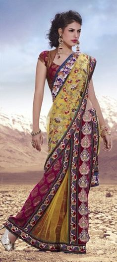 78673, Party Wear Sarees, Traditional Sarees, Bridal Wedding Sarees, Net, Stone, Zari, Resham, Red and Maroon, Yellow Color Family