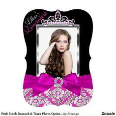 Pink Black Damask & Tiara Photo Quinceanera Invite