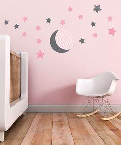 Gray & Pink Moon & Stars Wall Decal Set