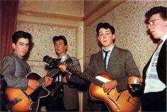 The Beatles in 1957. George Harrison is 14, John Lennon is 16, and Paul McCartney is 15