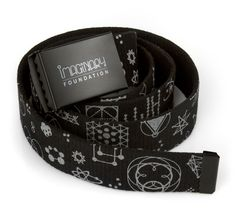 """Symbolism - Belt  Explore the symbolic power embedded within the geometry of the Cosmos.  Spun polyester adjustable belt with screenprinted metal buckle. Unisex, one size (49.5"""" long)"""