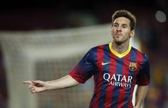 Barcelona's Lionel Messi celebrates a goal against Santos during their Joan Gamper trophy soccer match in Barcelona