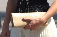 """Stuart Weitzman """"Muse"""" Clutch in Nude Snakeskin - $390 Kate carried her Stuart Wetizman Muse (also known as """"Raz"""") clutch bag too.  She owns the bag in a nude croc print-style fabric."""