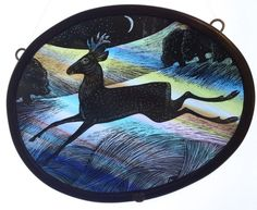 """Summer New Moon Stag"" by stained glass artist Tamsin Abbott"