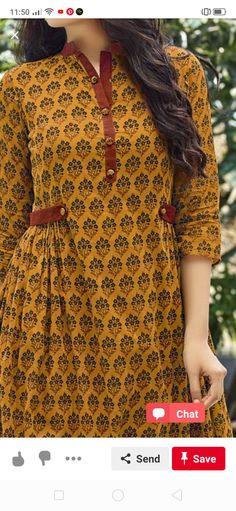Sample for stitching Pakistani Fashion Casual, Pakistani Dresses Casual, Pakistani Dress Design, Sleeves Designs For Dresses, Dress Neck Designs, Blouse Designs, Shirt Style Kurti, Kurta Style, Girls Dresses Sewing