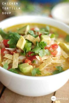 Flavorful, delicious chicken tortilla soup! The best dinner for chilly nights :-)