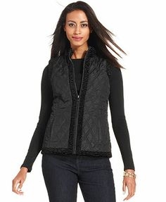 4e131ebcb32 Charter Club Reversible Faux-Fur Quilted Vest Women - Jackets - Macy s