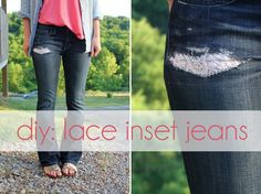 DIY Clothes DIY Refashion DIY Jeans Fashion: DIY lace inset jeans