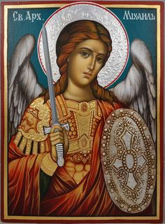 High quality hand-painted Orthodox icon of Saint Michael. BlessedMart offers Religious icons in old Byzantine, Greek, Russian and Catholic style. Religious Images, Religious Icons, Religious Art, St. Michael, Saint Michael, Gabriel, Angel Protector, Greek Icons, Archangel Raphael