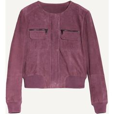 Max&Co. Suede nappa bomber jacket (14.260 RUB) ❤ liked on Polyvore featuring outerwear, jackets, burgundy, lined jacket, zip bomber jacket, purple bomber jacket, nappa leather jacket and blouson jacket