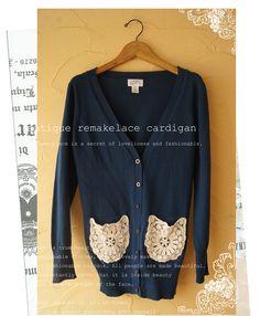 Lace Pocket Cardigan<3