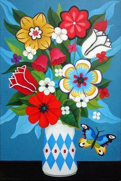 Acrylic Painting Flowers, Abstract Flowers, Art Floral, Decoupage Vintage, Flower Art Drawing, Folk Art Flowers, Spring Art Projects, Plant Art, Primitive Folk Art