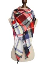 Womens Stylish Warm Plaid Pattern Big Square Scarf Shawl Red