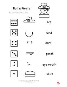 Pirate+Theme+Kindergarten+Activities | http://www.makinglearningfun.com/Activities/Pirates/RollaPirate.gif