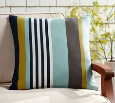 "Outdoor Addington Stripe Pillow 20"" square $28/$35.50 