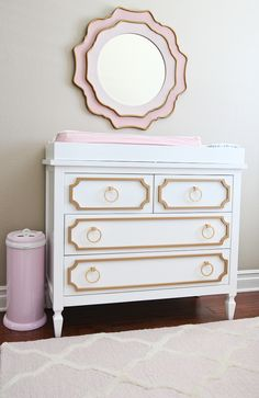 StylishPetite.com | Milan's Nursery Reveal (Plus Giveaway), gold pink white baby nursery decor, newport cottages beverly dresser