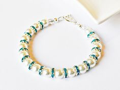 White Bracelet Pearl with turquoise Beaded by beaddesignsbyk, $23.50