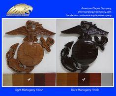 The US Marine Corps emblem in Light and Dark Mahogany finish.
