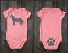 Pick your DOG  Polka-dot baby girl bodysuit with dog breed of