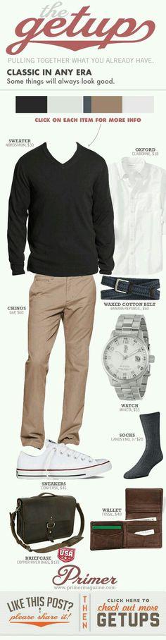 dark grey sweater, tan khakis, white shirt
