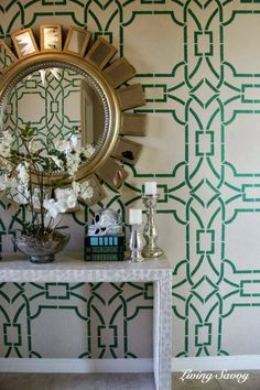 Contempo Trellis Stencil on Foyer Walls | Project by Living Savvy http://www.savvydesignwest.com/2013/09/my-house-entry-stencil-reveal.html