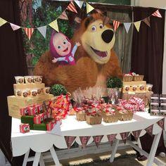 Resultado de imagem para masha and the bear birthday decorations Birthday Party Snacks, 4th Birthday Parties, Birthday Party Decorations, Birthday Party Invitations, Party Themes, Party Ideas, Bear Birthday, 3rd Birthday, Masha Et Mishka