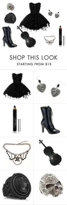 """""""Prelude 12-21"""" by catherinechronicles ❤ liked on Polyvore featuring Hell Bunny, Givenchy, Demonia, Bottega Veneta, lace, gothic, cameo jewelry, noir, black and lace up boots"""
