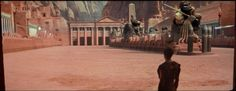 After Messala's death Ben-Hur discovers that her mother and sister are lepers, and that his revenge has not solved any problem; he realizes that evil goes beyond Messala. This snapshot dramatizes Ben-Hur's littleness before the Roman Empire, symbolized by this huge stadium. Ben-Hur 1959