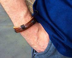 Men's leather cuff braceletmen's braided leather by PetalcraftArt