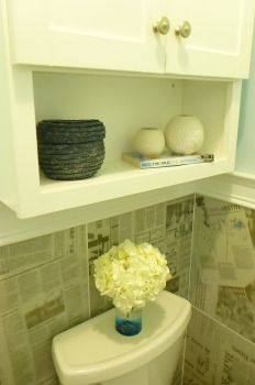 Powder Bath Bathroom Medicine Cabinet, Newspaper, Claire, Tile, Powder, Black And White, Lifestyle, Decor, Black White