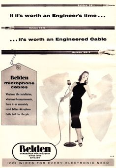 Belden 8411, 8422, and 8412 microphone cable advert 1956