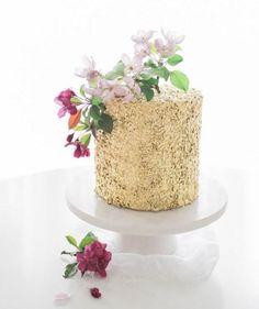 Glittering Gold Sequins Floral Cake