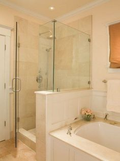Gorgeous master bath extra large walk in shower glass for Extra small bathroom ideas