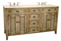 "60""    Cottage Look Abbeville Double Sink Bathroom Vanity  CF88324-60W"