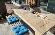 Pöytä, penkit ja keinu terassille - cooleri juomille @ Asuntomessublogit / P.S. Putkeen meni Joko, Outdoor Furniture Sets, Outdoor Decor, Ikea, Building, Table, Build Stuff, Home Decor, Album