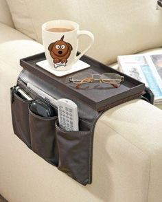 Great Ideas Luxury Faux Leather TV Remote Control Handset Holder / Organiser / Caddy For Arm Rests With Cup Holder Tray - Fits Over Chairs, Sofas Armchairs With Wide Arm - Eight Pockets Remote Caddy, Remote Control Holder, Tv Remote Controls, Clever Inventions, Ideas Para Organizar, Leather Working, Leather Craft, Wood Projects, Arms
