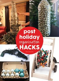 Holiday Organization Hacks- it's time to fa-la-la-la-la our way through organization bins and get that Christmas decor PUT AWAY!