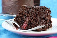 Double Chocolate Cake with Raspberry filling - the best cake I have ever made. @RecipeGirl {recipegirl.com}