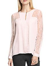 Long Sleeve Lace Trimmed Blouse